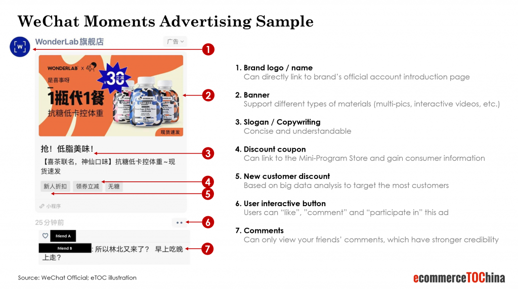 wechat moments advertising sample